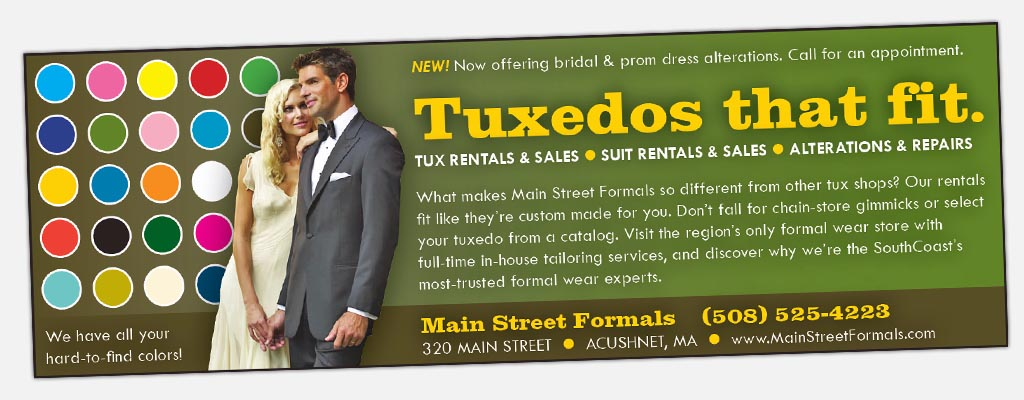 rack card for Main Street Formals